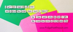 The Daily Magnet #306 Magnetic Poetry; Demagnetize Writer's Block! www.FridgePoetProject.com #writerslife