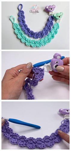 Crochet Easy Pacifier Holder/Clip - Crafts Time Crochet Bib, Quick Crochet, Crochet For Kids, Free Crochet, Crotchet, Pacifier Clip Tutorial, Crochet Pacifier Holder, Pacifier Clips, Simple Hand Embroidery Designs