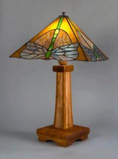 Dark Hollow Stained Glass  Dragonfly Arts and Crafts Table Lamp. Base by Phineas Rose Joinery