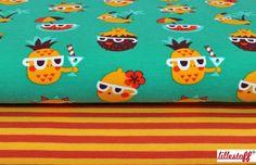 Bio-Jersey sonnige Ananas // bio jersey fabric sunny pinaepples by toddlin town fabrics via DaWanda.com