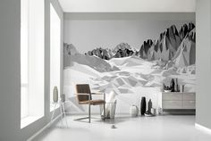 These photorealistic wall murals feature crisp, sharp, and vivid images of everything from birds to bricks and beyond. Professionally printed on panels of wallpaper-l. Poster Mural, Mural Wall Art, 3d Wallpaper For Walls, Wallpaper Roll, Poster Xxl, Deco Studio, Landscape Walls, Mountain Landscape, Space Furniture