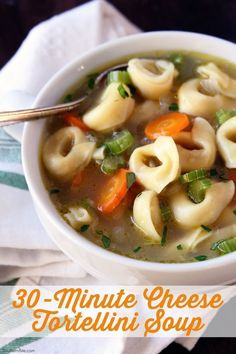 This hearty and delicious Cheese Tortellini Soup is on the table in about 30 minutes! Cheese Tortellini Soup, Tortellini Recipes, Soup Recipes, Great Recipes, Cooking Recipes, Easy Recipes, Chili Recipes, Delicious Recipes, Recipies