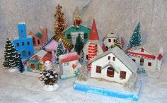 Vintage Villiage of Christmas Putz Houses Made Japan. Elfs Bottle Brush Trees | eBay