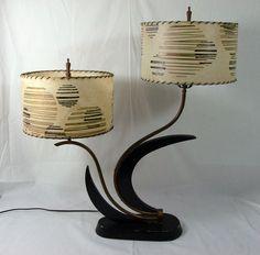 Majestic Double Lamp Black Lacquer Original Fiberglass Shades Mid Century Eames   eBay