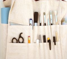 Crafter bag organized tote pocket brush storage for by Lunica #handmade #italiasmartteam #etsy #etsyshop #shopping #giftidea #bag #organizer #brush #craft #crafter #storage #fabric