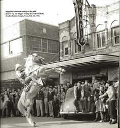 """Singer/Movie and TV star Roy Rogers riding Trigger in Temple, TX in 1943.  In the early 1950s I remember meeting him while my dad and I were standing in line with him to buy a Foster Freeze ice cream in Southern CA.  He was very friendly to this """"star struck"""" youngster."""