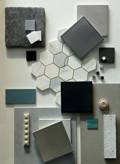 Mood board interior, material board, wall and floor tiles, color balance, c Mood Board Interior, Home Interior, Color Inspiration, Interior Inspiration, Foto Picture, Material Board, Wall And Floor Tiles, Wall Tiles, Colour Board