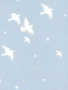 A murmuration of starlings swoop among star constellations in this romantic design from the Saturday Night/Sunday Morning collection by Mini Moderns. The contemporary and pretty design would look great as a feature wall or indeed when used to decorate an entire room in powder blue with white detailing.  This is a high quality paper and benefits from being Paste the Wall application which makes it extremely easy to work with, hang and also to remove at a later date.