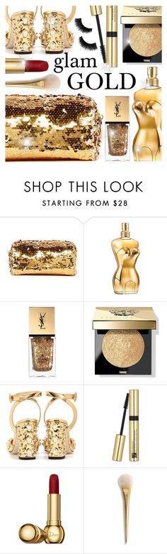 """Holiday Party Makeup: GOLD"" by razone ❤ liked on Polyvore featuring beauty, Deux Lux, Jean-Paul Gaultier, Yves Saint Laurent, Bobbi Brown Cosmetics, Dolce&Gabbana, Estée Lauder and Christian Dior"