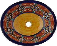 Mexican Tile - Mexican Talavera Sink - Terra Cotta Granada