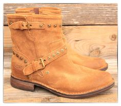 UGG Australia Womens Fabrizia Studs Chestnut Suede Motorcycle Boots US 7 UK 5.5 #UGG #Motorcycle