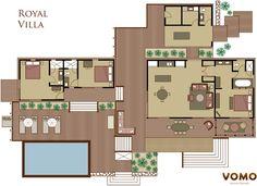 Vomo Fijian Resort, Royal Villa 3 Bedroom Floorplan.
