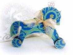 Wooden horse on wheels blue horse figurine wooden by GattyGatty