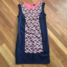 """Webster Miami shift dress Webster Miami shift dress for target is so summery with the coral neckline and paisley patten down the front and back. Perfect condition, own once for a few hours to a wedding shower. Zips in the back. Absolutely adorable. 33.5"""" long from hem to shoulder. Please note- I videotape the packaging and shipping of all my sales for my protection and yours. Dresses Midi"""