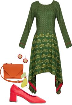 Military Green Block Printed Dress Styled By Kieu