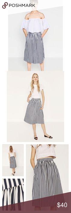 Zara striped taffeta skirt! NWT ‼️This striped midi skirt from Zara is perfect for any season. Features taffeta material, banded waist, pockets, and gathered detail. Zara Skirts Midi