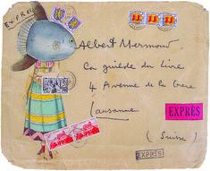 """lupitovi: """" Jacques Prévert - Collage sur enveloppe pour son éditeur"""