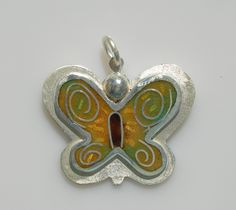Butterfly of happiness pendant in sterling silver with cloisonné vitreous enamel by Sasha Leon Sculpture & Jewellery at www.slsj.co.za