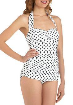 Beach Blanket Bingo One Piece in White, #ModCloth