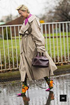 Ksenia Chilingarova wearing Balenciaga flower printed heels during Paris Fashion Week Fall Winter 2017