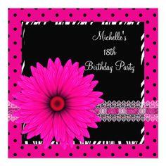 18th Birthday Black White Zebra Pink Spot Flower Custom Announcements