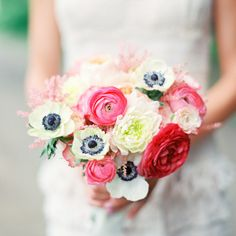 Anemone and ranunculus bouquet // Emily Steffen Photography // Camrose Hill // http://www.theknot.com/weddings/album/a-vintage-shappy-chic-wedding-in-minneapolis-mn-133351