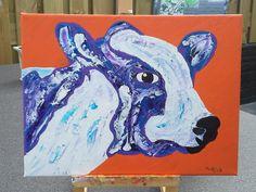 De kleurige koe Canvas 30 bij 40 penseel & paletmes