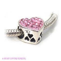 I Love You Heart European Biagi Bead Pink Crystal & Sterling Silver , $32.00