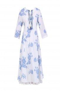 Ivory and blue rose embroidered ibiza tunic #umbarbypayalpratap #shopnow #perniaspopupshop #happyshopping