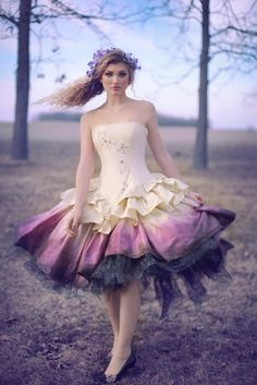 Ombre Wedding Dress Steampunk Fairytale Gown by KMKDesignsllc, $1195.00