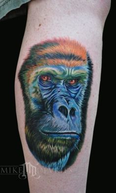 Mike devries silverback gorilla tattoos by mike for Monkey face tattoo