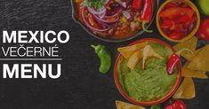Mexico menu na Mexickom večeri už Guacamole, Mexico, Menu, Ethnic Recipes, Blue, Food, Menu Board Design, Essen, Meals