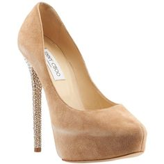 Pre-owned Jimmy Choo Salano Sue Crystal Tan Suede Heels ($230) ❤ liked on Polyvore featuring shoes, pumps, hidden platform pumps, crystal pumps, high heels stilettos, jimmy choo shoes and tan shoes