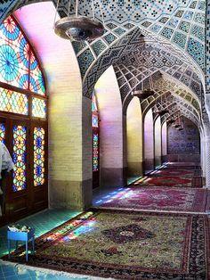 Prayer room of the Nasr ol Molk mosque at Shiraz, Fars province,  Iran, April 2008
