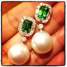 Tsavorite with south sea Pearl and diamond earrings! Oh, yes, yes, yes!!!
