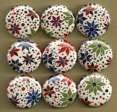 One Inch Magnet Set Liberty of London Fabric Flowers by misschief, $8.00