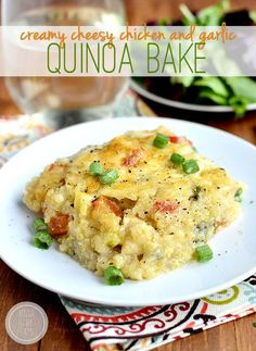 , 2014 by Kristin  7 Creamy Cheesy Chicken and Garlic Quinoa Bake is a creamy, comforting dinner full of cheesy-garlicky flavor! #glutenfree | iowagirleats.com