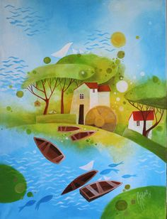 Janka Stašková Klimentová: Mlyn ( Mill ) / akryl na plátne / 60 cm x 90 cm Projects, Painting, Art, Art Background, Blue Prints, Painting Art, Kunst, Paintings, Performing Arts