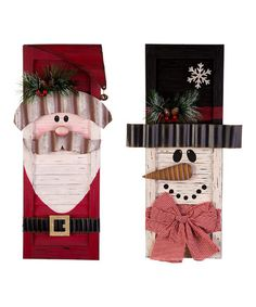 Another great find on #zulily! Snowman & Santa Shutter Décor - Set of Two #zulilyfinds