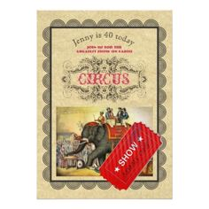 #personalize - #Adult Teen CIRCUS Party Invitation Elegant Vintage