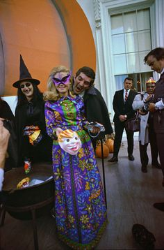 President Nixon's daughter, Tricia Nixon, holds a Halloween party for underprivileged children at the White House, 1969.