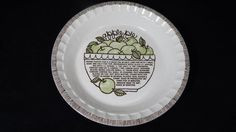 Vintage 1980's Royal China Jeannette Apple Pie Dish w/recipe printed on it