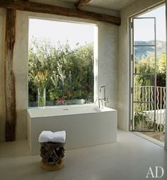 Bathroom Design: Indoor-Outdoor Bathroom from Architecture Digest | #Bathroom #InteriorDesign #Bathtub |