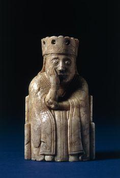 The Lewis Chessmen - Chess-piece; walrus ivory; queen wearing floriated crown,1150-1175 (circa) - Findspot : Uig (Europe,United Kingdom,Scotland,Western Isles,Lewis,Uig)