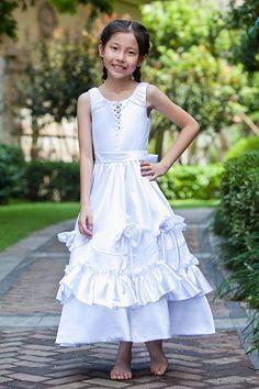 Sweet White Satin Flower Girl Dress - Order Link: http://www.theweddingdresses.com/sweet-white-satin-flower-girl-dress-twdn1074.html - Embellishments: Sash , Bowknot , Flower , Ruched; Length: Ankle Length; Fabric: Satin; Waist: Natural - Price: 74.36USD