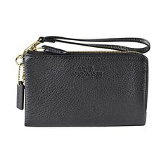 Women's Wristlet Handbags - Coach Pebbled Leather Double Corner Zip 64130 Black *** Check out the image by visiting the link.