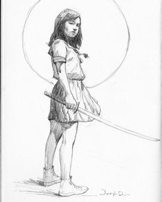 From an old sketchbook page. #pencilsketch #pencildrawing #pencil #drawing #sketch #sketching #sketchbook #girl #samurai #japan #japanese #katana #sword