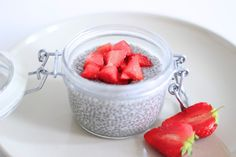 This creamy Chia Pudding Parfait is rich in omega calcium, vitamins, minerals and protein—and if you choose to make it with kefir, live probiotics as well! Chia Puding, Raspberry, Strawberry, Organic Maple Syrup, Plant Based Milk, Kefir, Chia Seeds, Diy Food, Food Porn