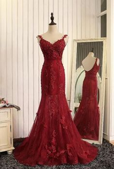 Formal Dresses,Straps Beads Mermaid Evening Dresses 2017 With Lace Appliques,Red Pageant Gowns Mermaid Prom Dresses Lace, V Neck Prom Dresses, Prom Dresses 2017, Tulle Prom Dress, Party Dresses, Lace Dress, Dress Party, Lace Mermaid, Dress Red