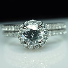 Solitaire Diamond Engagement Ring & Wedding Band Set - 14k White Gold - Size 6 - Free Resizing - Layaway Options - 1.15 cttw